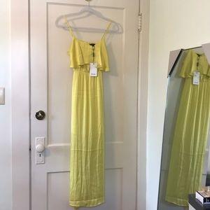 Bardot silky yellow dress, ruffle top, midi length